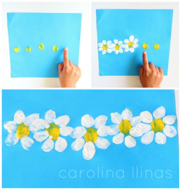 flores con las huellas de los dedos